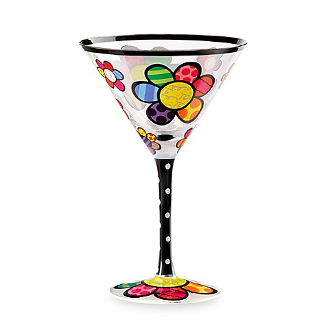 Britto™ by Giftcraft Flower Design 8-Ounce Martini Glass