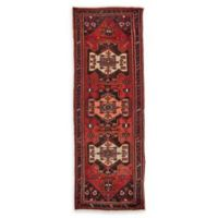 Feizy Rugs One of a Kind Antique Hamedan 3'4 x 9'7 Runner in Red/Navy/Yellow
