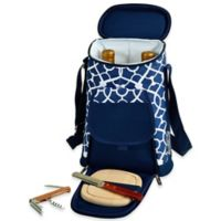 Picnic at Ascot Trellis Insulated Wine Tote with Cheese Set in Blue