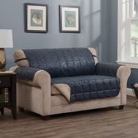 Brentwood Faux Leather Loveseat Protector in Navy