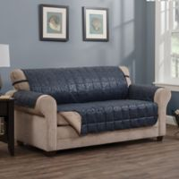 Brentwood Faux Leather Sofa Protector in Navy