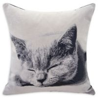 Danya B.™ Sleepy Cat Square Throw Pillow in Ivory