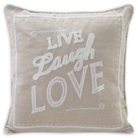 """Danya B.™ """"Live Laugh Love"""" Square Throw Pillow in Ivory"""