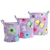 Dream Factory Sweet Butterfly 3-Pack Storage Bin in Purple