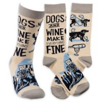"Primitives by Kathy® ""Dogs and Wine"" One-Size Adult Socks"