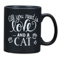 """Primitives by Kathy® """"And A Cat"""" Coffee Mug in Black"""