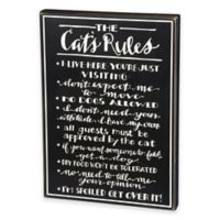 Primitives by Kathy Cat Rules 13.5-Inch x 19-Inch Wooden Box Sign