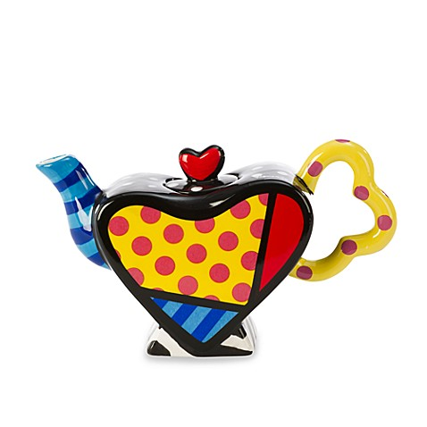 Britto™ by Giftcraft Heart Shaped Miniature Ceramic 7-Ounce Teapot