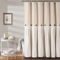 Linen Button Shower Curtain in Linen