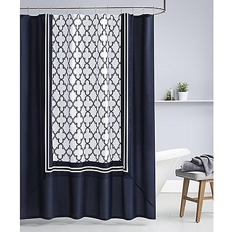 Midnight Quatrefoil Shower Curtain In Navy White
