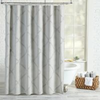 Peri Home Chenille Lattice Shower Curtain In Grey