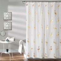 Flamingo Shower Curtain in Gold