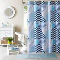 Axel Printed Shower Curtain in Blue