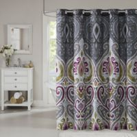 Nomad Printed Shower Curtain in Grey
