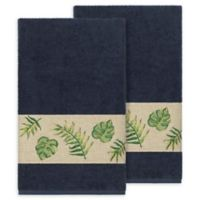 Linum Home Textiles Zoe Tropical Bath Towels in Midnight Blue (Set of 2)