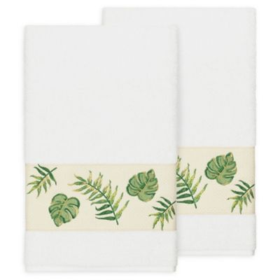 Linum Home Textiles Zoe Tropical Bath Towels In White (Set Of 2)