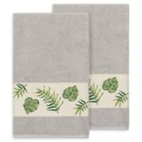 Linum Home Textiles Zoe Tropical Bath Towels in Light Grey (Set of 2)