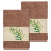 Linum Home Textiles Zoe Tropical Hand Towels in Latte (Set of 2)