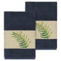 Linum Home Textiles Zoe Tropical Hand Towels in Midnight Blue (Set of 2)