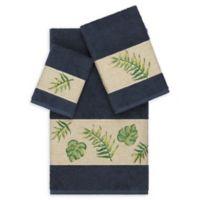 Linum Home Textiles Zoe 3-Piece Tropical Towel Set in Midnight Blue
