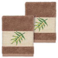 Linum Home Textiles Zoe Tropical Washcloths in Latte (Set of 2)