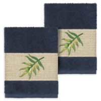 Linum Home Textiles Zoe Tropical Washcloths in Midnight Blue (Set of 2)
