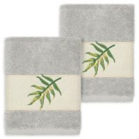 Linum Home Textiles Zoe Tropical Washcloths in Light Grey (Set of 2)