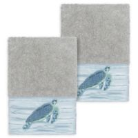 Linum Home Textiles Mia Sea Turtle Washcloths in Light Grey (Set of 2)