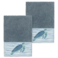 Linum Home Textiles Mia Sea Turtle Washcloths in Teal (Set of 2)