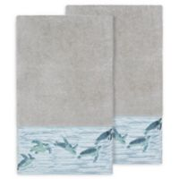 Linum Home Textiles Mia Sea Turtle Bath Towels in Light Grey (Set of 2)