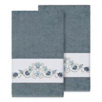 Linum Home Textiles Bella Seashell Bath Towels in Teal (Set of 2)