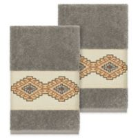 Linum Home Textiles Gianna Hand Towels in Dark Grey (Set of 2)