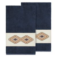 Linum Home Textiles Gianna Bath Towels in Midnight Blue (Set of 2)