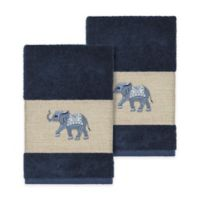 Linum Home Textiles Quinn Hand Towels in Midnight Blue (Set of 2)