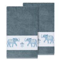 Linum Home Textiles Quinn Bath Towels in Teal (Set of 2)