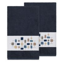 Linum Home Textiles Khloe Bath Towels in Midnight Blue (Set of 2)