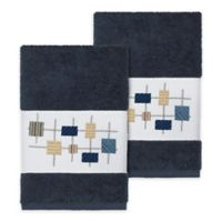 Linum Home Textiles Khloe Hand Towels in Midnight Blue (Set of 2)