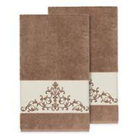 Linum Home Textiles Scarlet Crest Bath Towels in Latte (Set of 2)