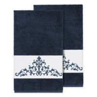 Linum Home Textiles Scarlet Crest Bath Towels in Midnight Blue (Set of 2)