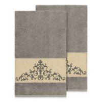 Linum Home Textiles Scarlet Crest Bath Towels in Dark Grey (Set of 2)