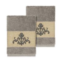 Linum Home Textiles Scarlet Crest Washcloths in Dark Grey (Set of 2)