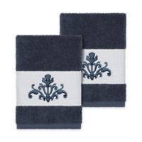 Linum Home Textiles Scarlet Crest Washcloths in Midnight Blue (Set of 2)
