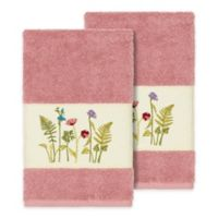 Linum Home Textiles Serenity Wildflower Hand Towels in Tea Rose (Set of 2)