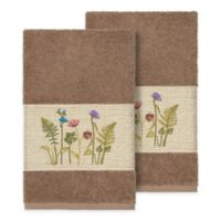 Linum Home Textiles Serenity Wildflower Hand Towels in Latte (Set of 2)