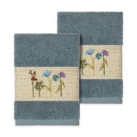 Linum Home Textiles Serenity Wildflower Washcloths in Teal (Set of 2)