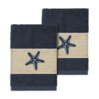 Linum Home Textiles Lydia Washcloths in Midnight Blue (Set of 2)