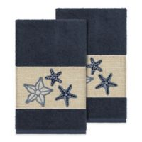 Linum Home Textiles Lydia Hand Towels in Midnight Blue (Set of 2)