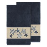 Linum Home Textiles Lydia Bath Towels in Midnight Blue (Set of 2)