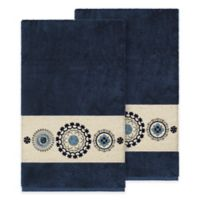 Linum Home Textiles Isabella Bath Towels in Midnight Blue (Set of 2)