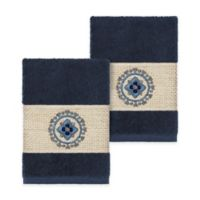 Linum Home Textiles Isabella Washcloths in Midnight Blue (Set of 2)